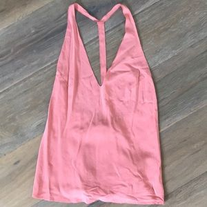 ASOS Washed Silk Coral Halter Top Size 4